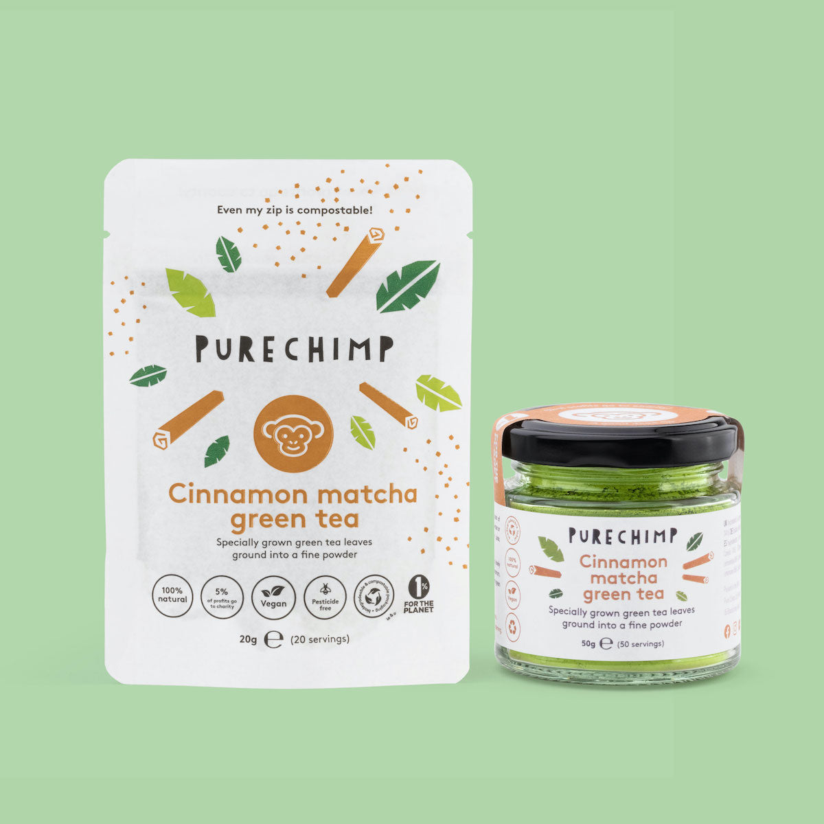 cinnamon matcha green tea in recyclable packaging
