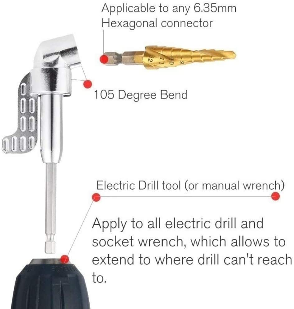105 Degree Right Angle Driver Extension Screwdriver Drill Attachment,Pack of 3pcs,Addlike Right Angle Drill Attachment 1//4 Hexagon Flexible Screwdriver Extension Soft Shaft