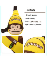 NOHOO Kid Yellow Monkey Design Children Boy Sling Crossbody Travel Preschool Bag