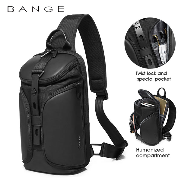 "Bange Triway Men Anti-theft Lock Sling Bag Fashion Chest Pack Waterproof USB Crossbody Bag (9.5"" tablet)"