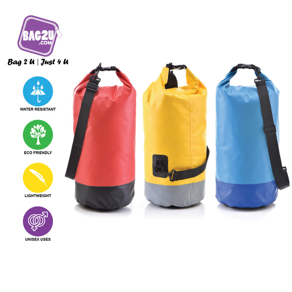 Bag2u - 【HOT】WATERPROOF Bag High Quality 20 Liter Dry Bag Two Tone Colour Big Capacity Travel
