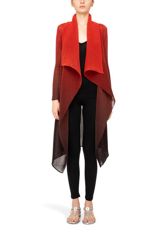 COLLARE COAT | RED TO CHARCOAL OMBRE
