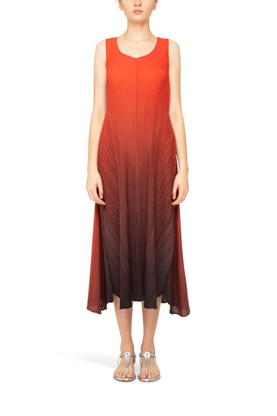 LONG ESTRELLA DRESS | RED TO CHARCOAL OMBRE