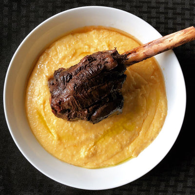 Venison Shank with Cheesy Grits
