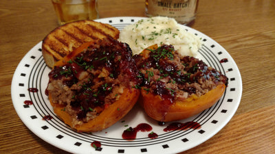 Smoked Meatloaf Stuffed Peppers with Raspberry Chipotle BBQ Sauce