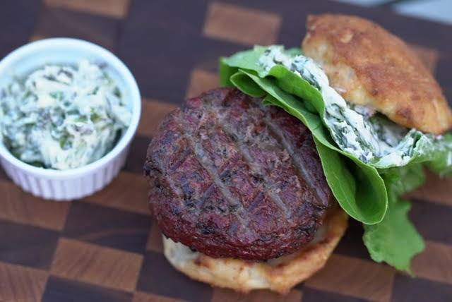 Morel Game Burgers with Charred Scallion Butter