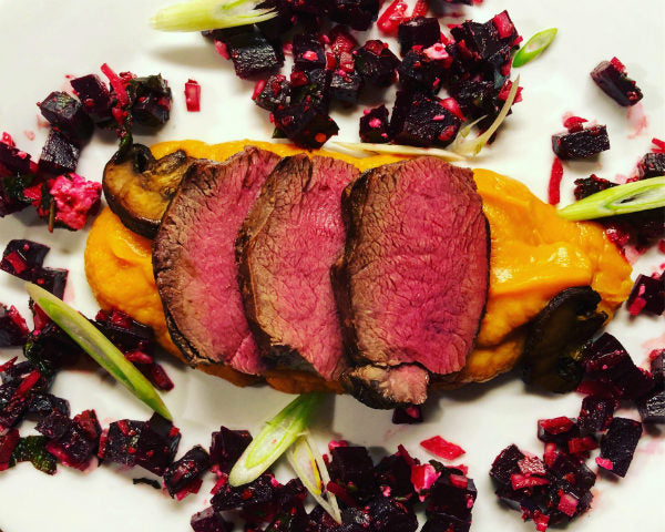 Sous Vide Venison Backstrap with Miso Sweet Potato Purée and Beet Salad
