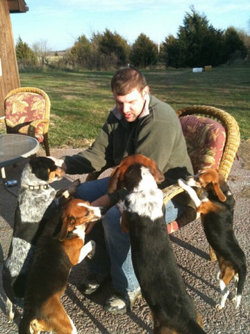 Author with beagles after wild rabbit hunt