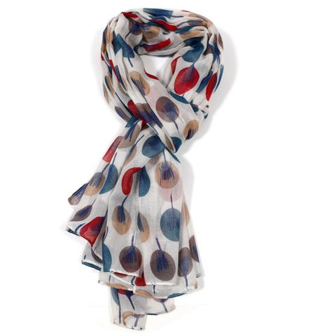 White Scarf with Multi-Colour Stylish Trees