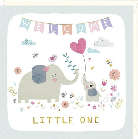 Whistlefish Welcome Little One Greeting Card with Mummy and baby elephants celebrating