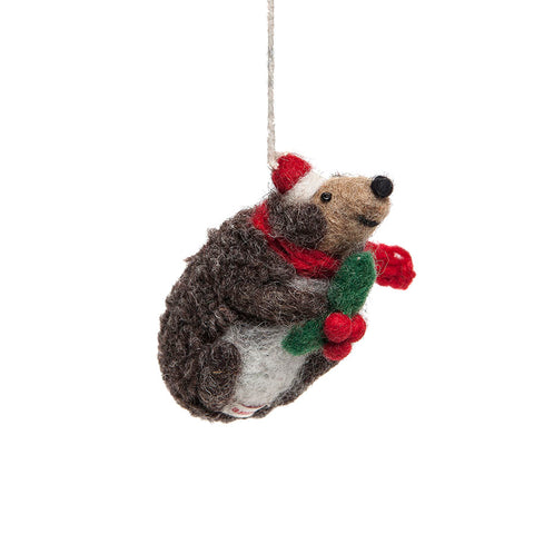 Amica Fair Trade Felt Hedgehog with Holly Decoration