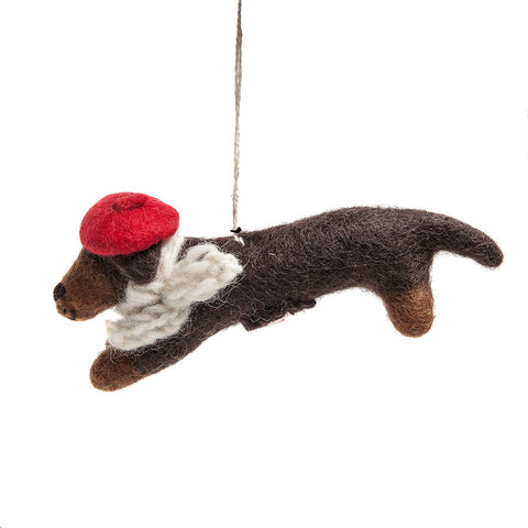 Amica Fair Trade Felt Sausage Dog with Beret Decoration