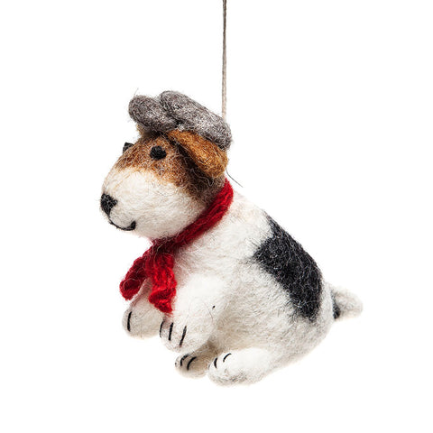 Amica Fair Trade Large Sitting Felt Fox Terrier with Cap