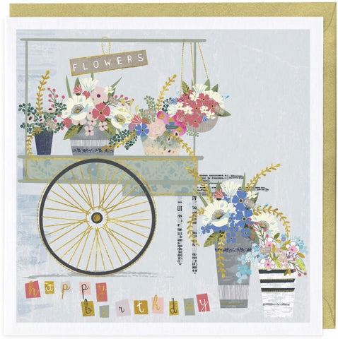 Happy Birthday greeting card with flower stall