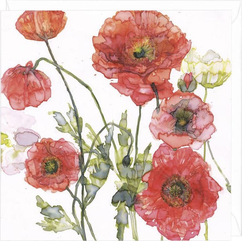 Orange and Peach Poppies Greeting Card