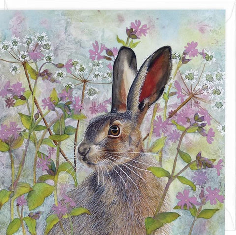 Whistlefish Spring Hare greeting card by Janella Horne