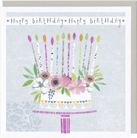 Happy Birthday Greetings Card with birthday cake and candles