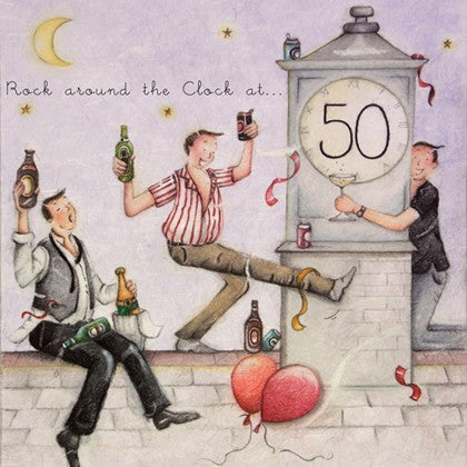 Rock Around the Clock at 50 Greeting Card from Berni Parker