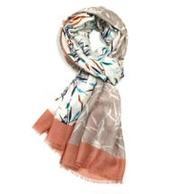 Neutural Shades Scarf with Bamboo Design