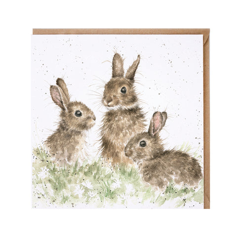 Born Free Greeting Card from Wrendale three rabbits