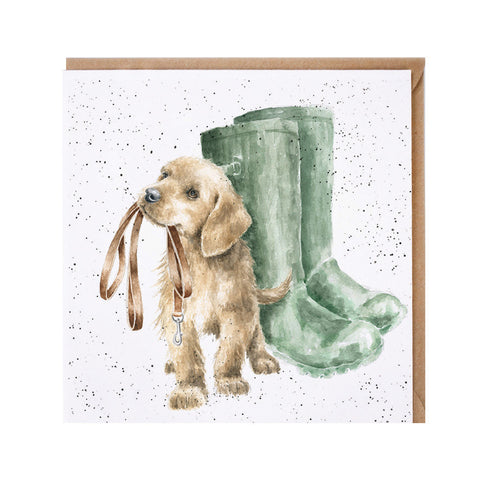 Hopeful Greeting Card from Wrendale puppy Labrador with wellington boots
