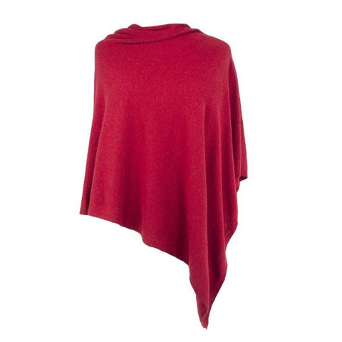 Italian Wool/Cashmere Ruby Red Poncho from Cadenza