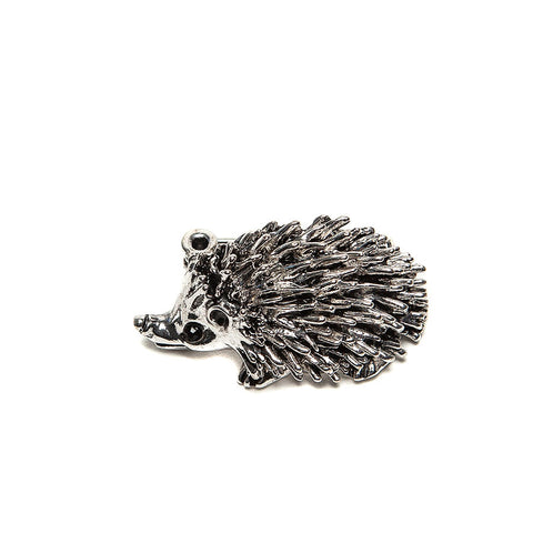 Cute Silver Finish Hedgehog Brooch