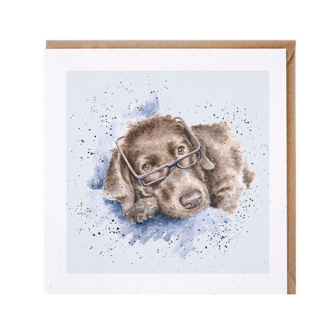 Brown Labrador with Glasses Greeting Card from Wrendale