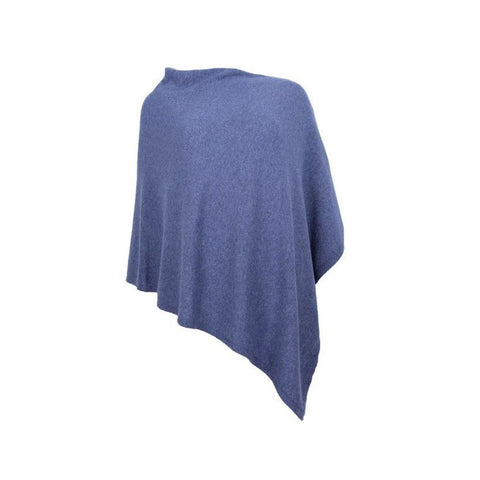 Italian Wool/Cashmere Mix Denim Poncho from Cadenza