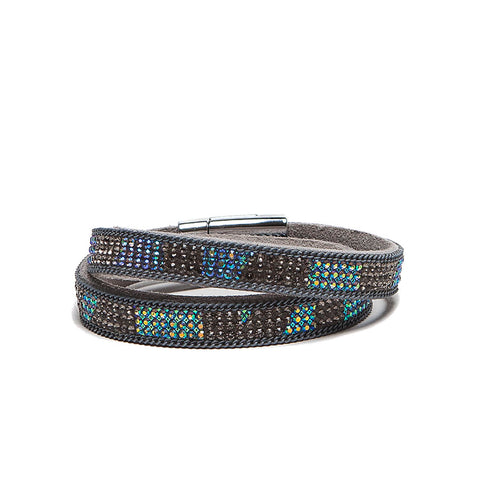 Eastar Faux Leather Blue Grey Crystal Wrap Bracelet