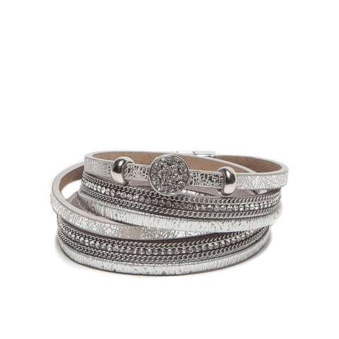Eastar Multi-Strand Faux Leather Wrap Bracelet with Crystal Charm