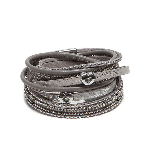 Eastar Multi-Strand Faux Leather Wrap Bracelet with Hearts