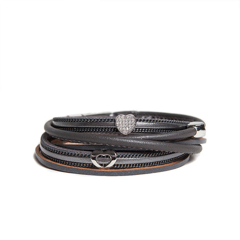 Dark Grey Multi-Wrap Bracelet with Crystal Heart