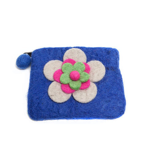 Felt So Good Blue Felt Purse with Flower Design