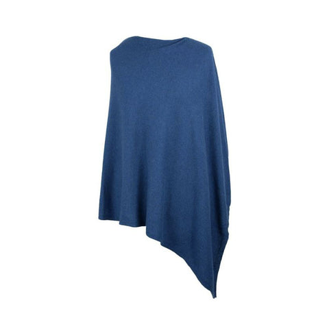Italian Wool/Cashmere Mix French Navy Poncho from Cadenza