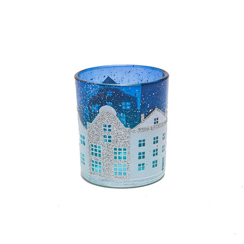 Gisela Graham Blue and White Festive Street Scene Votive