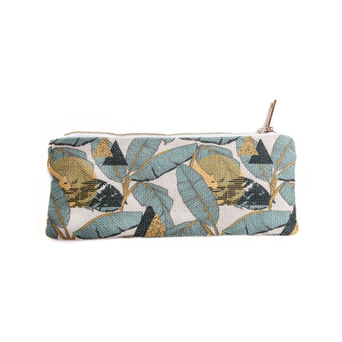 Gisela Graham Danish Chic Teal Palm Print Fabric Pencil Case