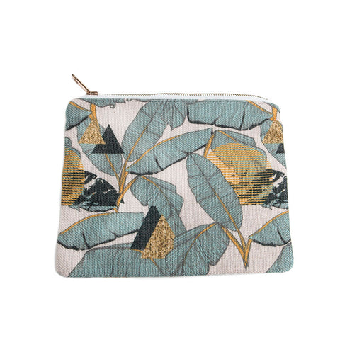 Gisela Graham Danish Chic Teal Palm Print Make-Up Bag