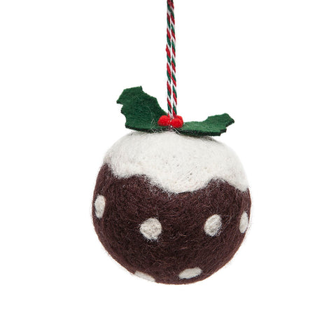 Gisela Graham Large Wool Mix Christmas Pudding Decorarion