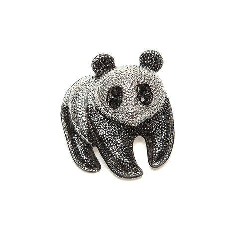 Gorgeous Black and Silver Finish Panda Brooch