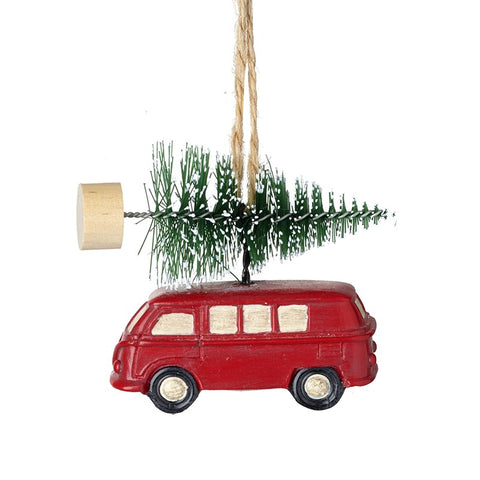 Heaven Sends Hanging Camper Van with Christmas Tree