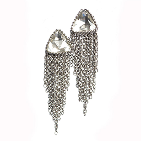 Hot Tomato Tricorne Crystal Stud Earrings with Chain Fringe