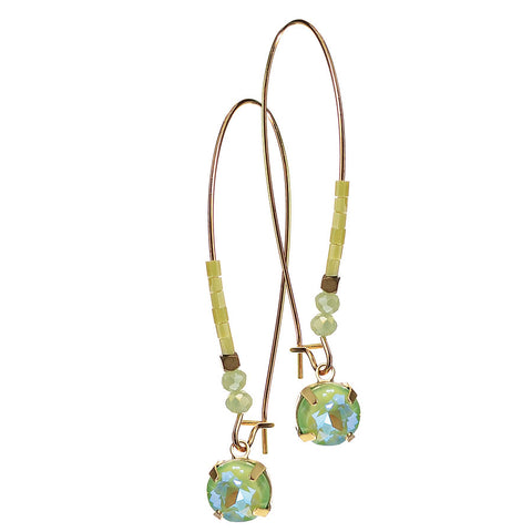 Hot Tomato Green Crystal Drop on Elongated Gold Beaded Hook Earrings