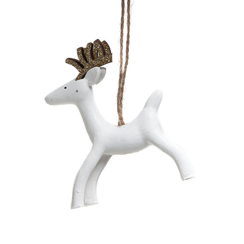 Heaven Sends Elegant White Hanging Reindeer Decoration