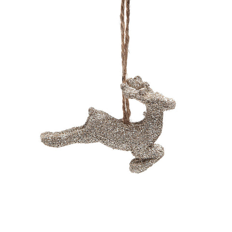 Heaven Sends Gold Sparkling Deer with Twine Hanging Decoration