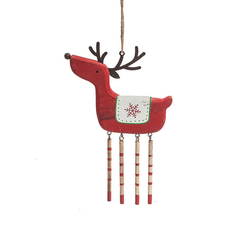 Heaven Sends Red Wooden Deer Decoration with Dangly Legs