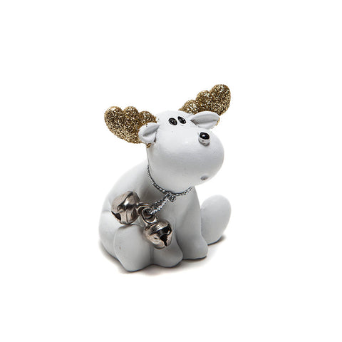 Heaven Sends White Moose with Gold Antlers Decoration