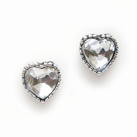 Hot Tomato Crystal Heart Stud Earrings
