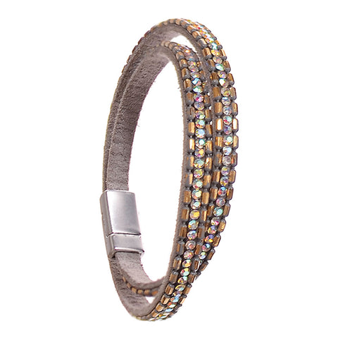 Hot Tomato Double Wrap Bracelet with Grey and Gold Crystals