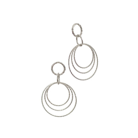 Hot Tomato Rings Around Silver Finish Earrings